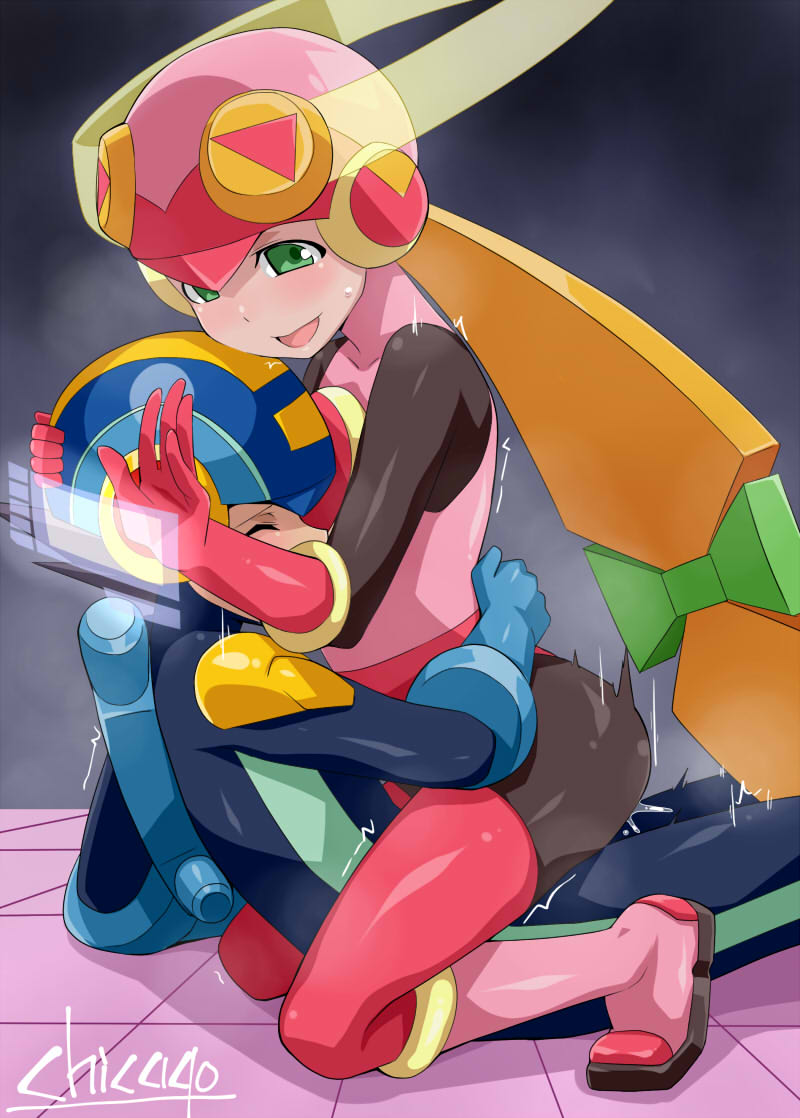 exe and megaman exe roll Anime cat girl with white hair